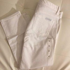 Calvin Klein white denim jean cropped capris 8